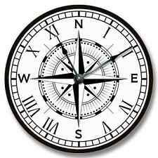 Compass Rose Pattern Wall CLOCK - Beachy and Nautical Home Decor - 7130_FT