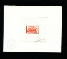 Congo 1972 Hippopotamus Fauna Scott 271 Signed Sunken Die Artist Proof in Orange