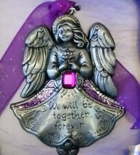 Gloria Duchin Inc Christmas Ornament Angel Purple Together Forever Pewter Word