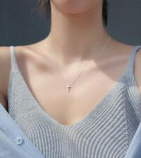 Tiny Faith Cross Silver SP Pendant Chain Necklace