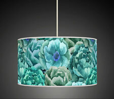 Aqua  / Teal  Floral flower Handmade lampshade printed fabric pendant light 639