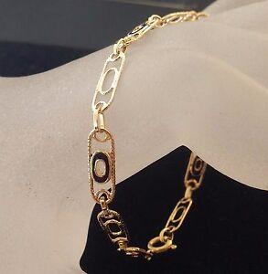 """Vintage 18 k Solid Gold Blue Enamel & Gold Links Alternate Bracelet 7 1/3"""" L"""