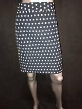 BANANA REPUBLIC Navy Blue/White Polka Dot Back Zipper Straight Pencil Skirt sz 4
