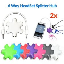 3.5mm Headphone 6 Way Splitter Hub Audio Auxiliary Converter Adapter for Mp3