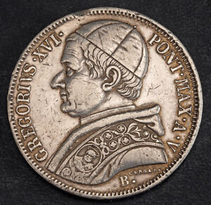 1835, Vatican, Gregory XVI. Large Papal Silver Scudo Coin. (VF) Bologna mint!