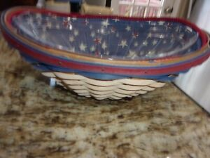 LONGABERGER AMERICAN CELEBRATIONS SWOOP BASKET WITH PROTECTOR RED BLUE WHITE