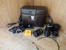 Vintage Olympus OM-10 SLR Film Camera Starter Package (3) Lens Zuiko 50mm 200mm