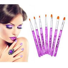 Pro 7pcs UV GEL Acrylic Painting Drawing Nail Art Pen Brush Polish Builder Tool