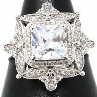 5Ct Princess Cubic Zirconia Ring Women Wedding Jewelry 14K White Gold Plated