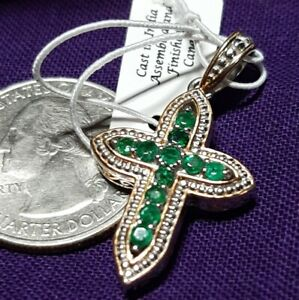Gems En Voque Natural Emerald And Palladium Silver Cross Pendant with 18k accent