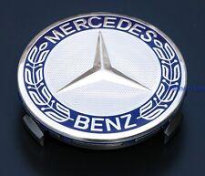Mercedes Wheel Centre Hub Cap 75mm A C E S Class Dark Blue Embossed Wheat Logo