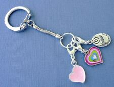 Keychain ring with Dangle Clip on Charms. Pendant Heart, Follow your Heart. S88
