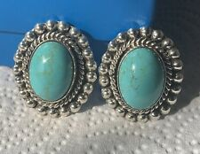 Rare Vintage Taxco Heavy Large Mexico sterling silver turquoise clip-on earrings