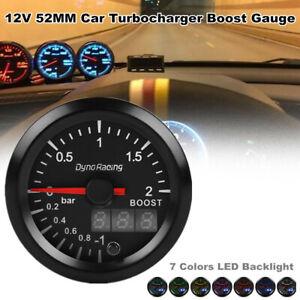 12V 52MM Car Turbocharger Boost Gauge Bar Digital Pointer Vacuum Pressure Meter