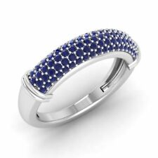 Certified 0.74 Carat Natural Blue Sapphire Wedding Band Ring in 14k White Gold