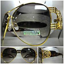 CLASSIC OVERSIZE RETRO VINTAGE HIP HOP RAPPER SUNGLASSES Gold & Tortoise Frame