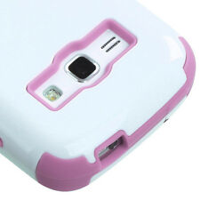 """For Samsung """"Prevail 2"""" IMPACT TUFF HYBRID Case Skin Phone Cover White Pink"""