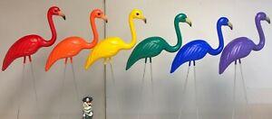 Set of Rainbow Flamingos Lawn Ornaments  Red Orange Blue Purple Green Pride