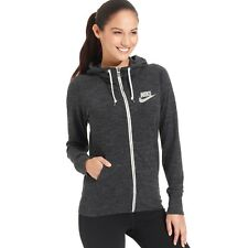 Nike GYM VINTAGE Hoodie WOMEN LARGE HEATHER BLACK NWT ZIP 813872-010