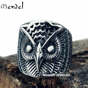 MENDEL Mens Stainless Steel Owl Bird Wide Band Ring For Men Jewelry Size 7-15