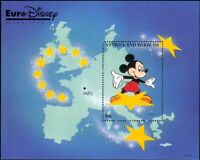 Antigua 1993 Euro Disney/Cartoons/Animation/Mickey/Map/Stars 1v m/s (ad1018)