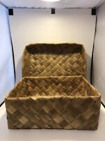 """Split Bamboo Basket Weave Box With Lid 10"""" X 8"""" X 4"""""""