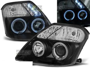 Headlights for Citroen C2 03-10 Angel Eyes Black WorldWide FreeShip US LPCI08 XI