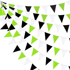 10M/32Ft Green Black White Banner Decorations Triangle Flag Fabric Pennant Garla
