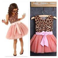 Girls Toddler Baby Tutu Dress Princess Leopard Print Party Birthday Pageant Kids