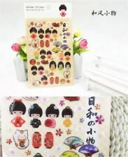 1 sheet - Japanese Kimono Doll Plastic Sticker Decor DIY Scrapbooking Decor