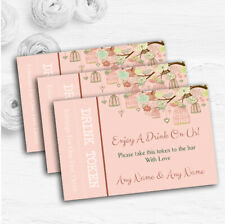 Vintage Shabby Chic Birdcage Coral Personalised Wedding Bar Free Drink Tokens