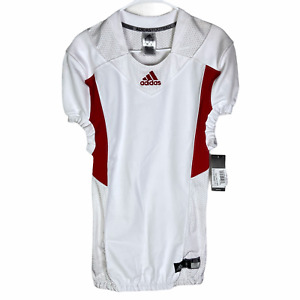 NEW Adidas Football Blank Practice Jersey Small White Red TechFit Hyped $80