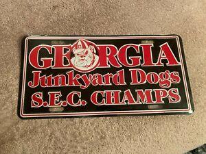 RARE GEORGIA BULLDOGS 1980 NATIONAL CHAMPIONS LICENSE PLATE TAG JUNKYARD DOGS