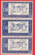 3 mal 2.50 Gulden von 1938, Original Banknoten in *VF* Erhaltung!