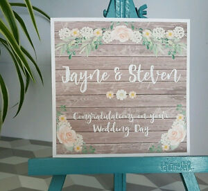 PERSONALISED Handmade Vintage Shabby Chic Style Floral Wedding Day Card