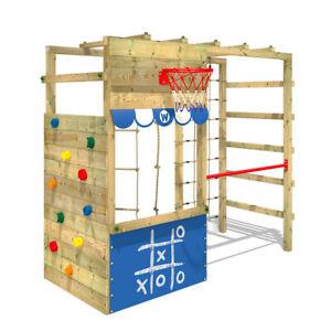 Aire de jeux en bois Tour d'escalade Portique bois enfants - WICKEY Smart Action