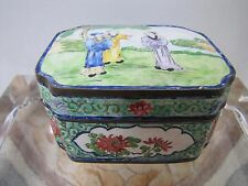 Antique Chinese Hand-Painted Porcelain Enamel Over Copper Storage Box.
