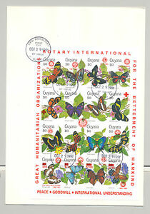 Guyana 1991 Butterflies, Rotary Imperf M/S of 16 with Surcharges RED o/p on FDC