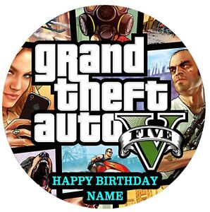 Grand Theft Auto Edible Image custom icing cake topper decoration video game