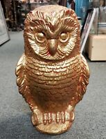 Mid 20th Century Gilded Chalkware Owl Sculpture