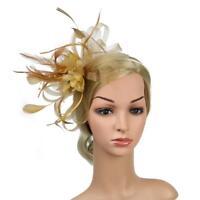 Gold Mesh Bow Aliceband Feather Fascinator Headband Wedding Bridal Headwear