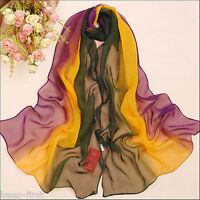 Women's Gradient Color Long Chiffon Scarf Wrap Ladies Shawl Girls Large Scarves