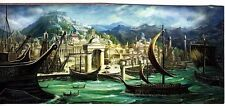Unframed Art Poster fantasy greek seaport with ships and temple on hill (k84)