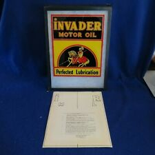 "NOS 1950's INVADER MOTOR OIL Window Decal Transfer Sticker 9 3/4"" x 11 7/8"" ORIG"
