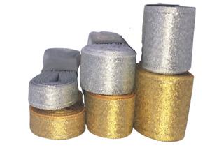 Brocade Band lurexband-Dekoband Gift Tape Ribbon Gold & Silver