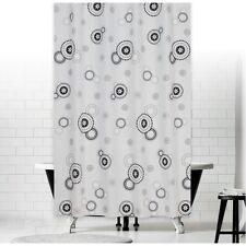 Cortina de ducha tela 180x200 Blanco Gris Negro Círculos 180 x 200 + ANILLAS