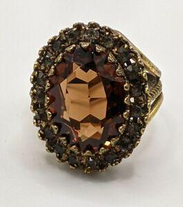 Vintage Bronze Brown Crystal Rhinestones Statement Ring size 9.75