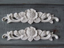 TWO SHABBY CHIC VINTAGE ROSE DECORATIVE FURNITURE OPAQUE  SWAG MOLDINGS.