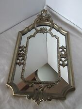 """Vintage Mirror Ornate Wall Mirror Hollywood Regency Italy Silver Gold tone 23"""" H"""