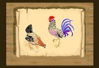 Rooster & Hen of The Farmyard Stencil 350 micron Mylar not thin stuff #Bird026
